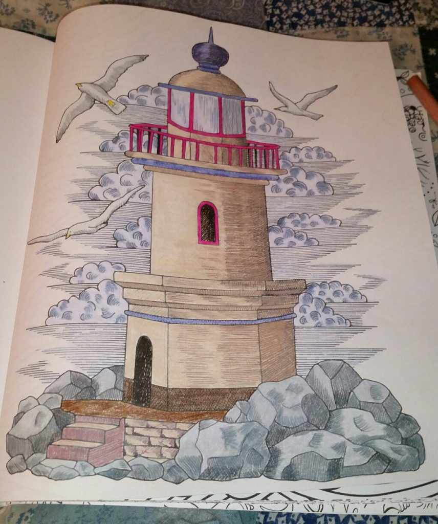 Stress less coloring by the shore - Slc Lighthouse